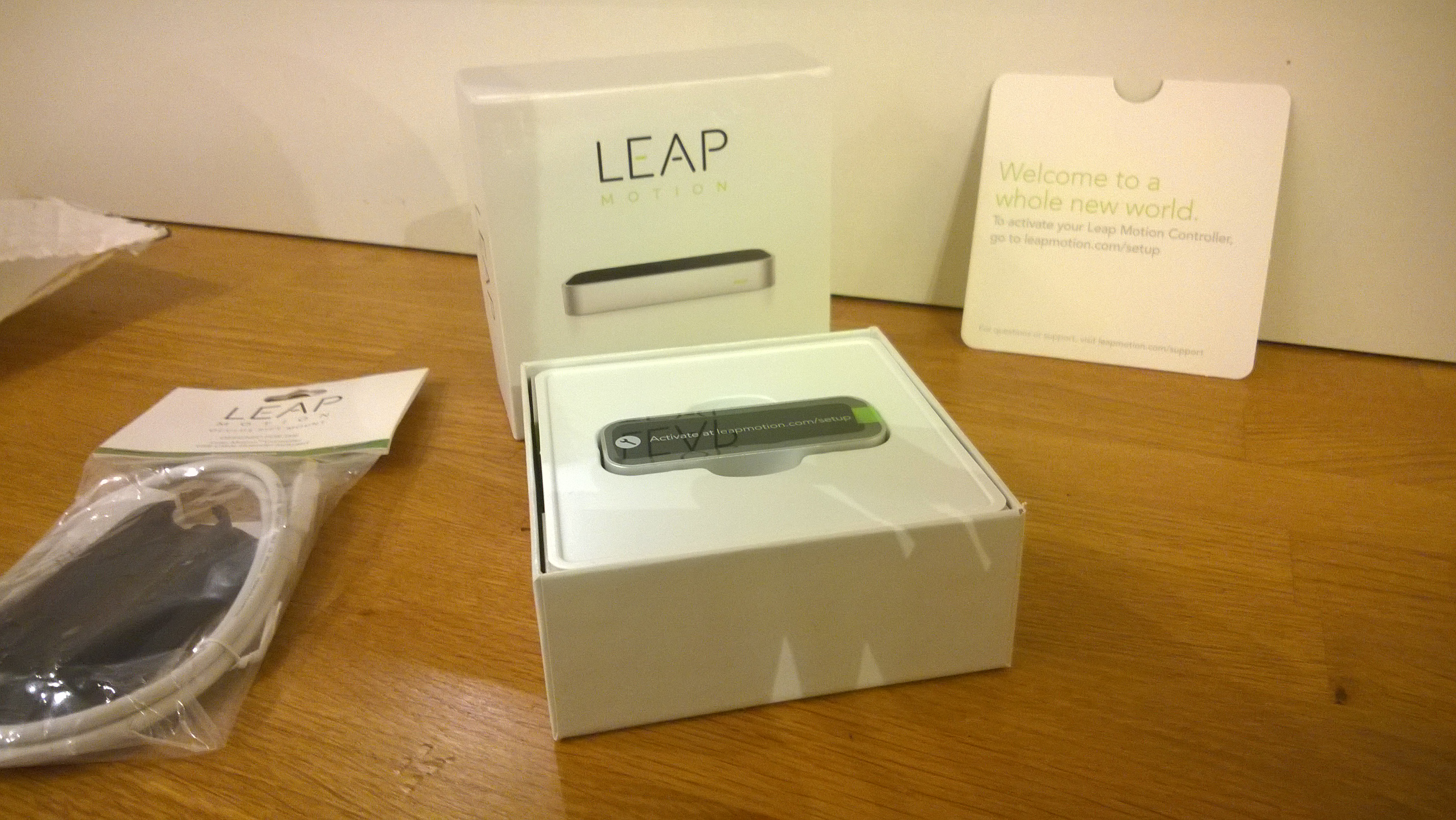 The Leap Motion controller when its arrived at the lab